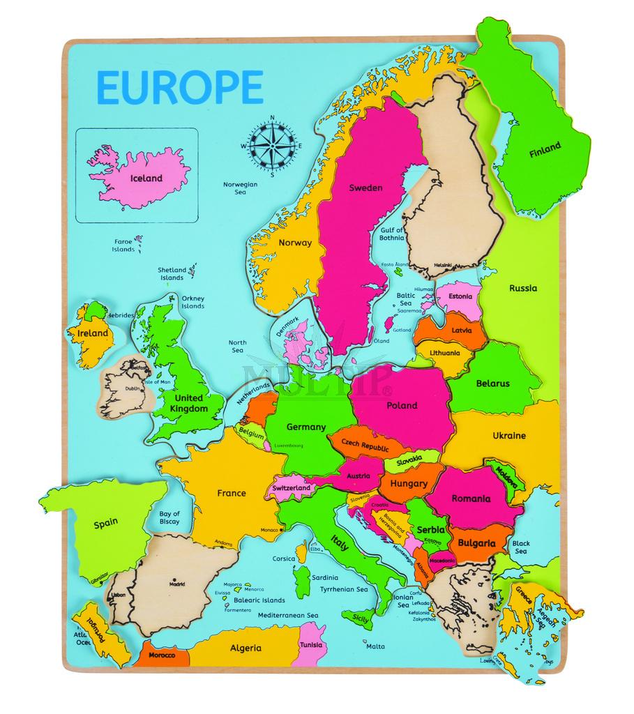 Mapa Evropy Drevene Puzzle